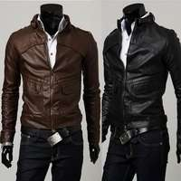 PY04 New Mens Slim Fit Faux Leather PU Jackets Coats Brown Black US XS
