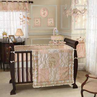 Pink and White Toile Bird Flower Patchwork Baby Girl Nursery 5p Crib
