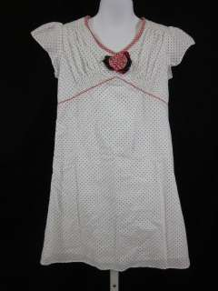 CHARABIA GIRLS White Cotton Polka Dot Floral Dress Sz 6