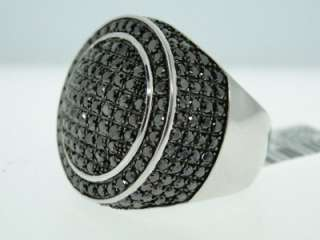 MENS WHITE GOLD FINISH 4.87 CT BIG BLACK DIAMOND RING
