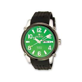 Croton Mens Green Dial Black Silicon Band Quartz Watch