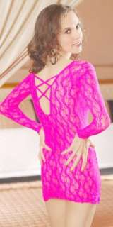 New Hot Pink Stretch Lace Chemise w/Strappy Back 1X 2X