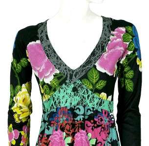 NEW $148 Desigual Floral Printed Embroidered Tunic Dress Medium M
