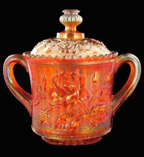 IMPERIAL RADIUM LUSTRE OPEN ROSE MARIGOLD CARNIVAL GLASS SUGAR BOWL