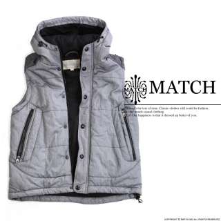 New MATCH Mens fashion Zip Slim Designed Hoodies Vest Waistcoat #G322