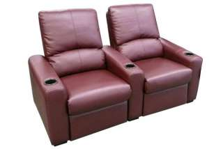 EROS Home Theater Seating 2 Burgundy Recliner Chairs