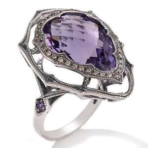 Brodie 10.14ct Amethyst and Brown Diamond Pear Shaped Ring
