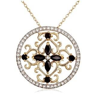 Yellow Gold Plated Sterling Silver Garnet Flower Pendant, 18 Jewelry