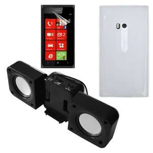 Black Speaker Fold up Docking Station for Nokia Lumia 900 Cell Phones