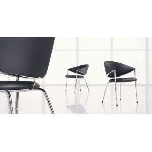 Sleek Black Faux Leather Guest Visitor Side Chair