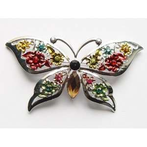 Colored Multi Color Butterfly Crystal Rhinestone Pin Brooch Jewelry