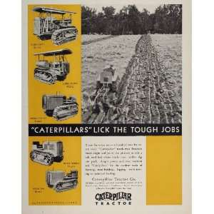 1930 Ad CATERPILLAR Track Type Tractor Farm Plowing