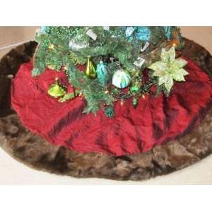 Christmas Burgundy Tree Skirt with Mink Fur Border