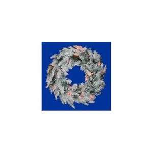 Flocked Alaskan Artificial Christmas Wreath   Multi D