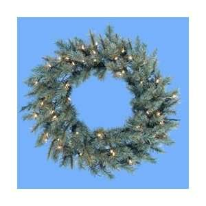 Blue Spruce Artificial Christmas Wreath   Clear Lights
