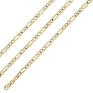 Shiny SOLID 14k Two Tone Gold Figaro Pave Chain 4mm 24