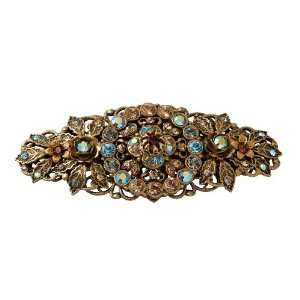 Beautiful Hair Brooch Designed with Flowers and Blue Crystals Beauty