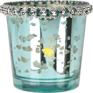 Turquoise Blue Mercury Glass Candle Holder (with