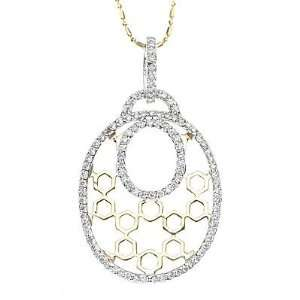 14k Two tone Gold Diamond Pendant with Chain 16 (0.80cttw