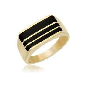 Mens 14K Yellow Gold Black Onyx Ring 9.5mm Jewelry