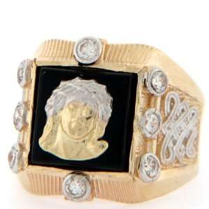 10K Solid Two Tone Gold Onyx Jesus CZ Big Mens Ring Jewelry