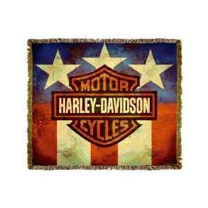 Harley Davidson American Flag Motorcycles Throw Blanket