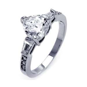 Sterling Silver Heart Center CZ Ring Cz Heart 8.7mm x 8