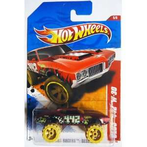 30 THRILL RACERS DESERT 5 of 6, #185 red w beige monster truck tires