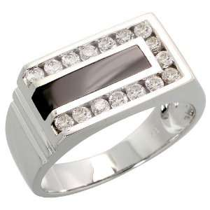 14k White Gold Grooved Rectangular Mens Diamond Ring, w/ Black Onyx