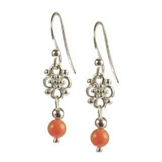 Sterling Silver Beaded Chandelier Pink Coral Earrings Jewelry