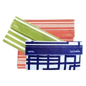 Two Snack Bags (in Green Stripe & Navy Blue Circuit)