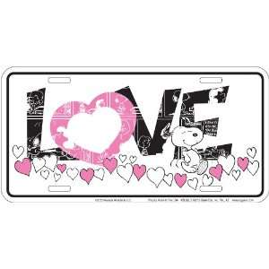Peanuts   Pink Love Snoopy License Plate