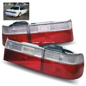 90 91 Honda Accord Tail Lights   JDM Red Clear Automotive