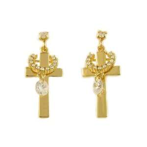 Cross Swarovski Crystal 18K Gold Plated Stud Earring