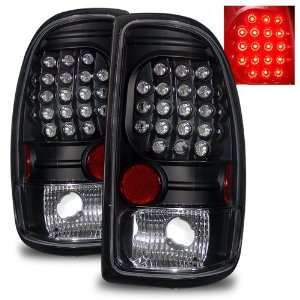 97 04 Dodge Dakota Black LED Tail Lights Automotive