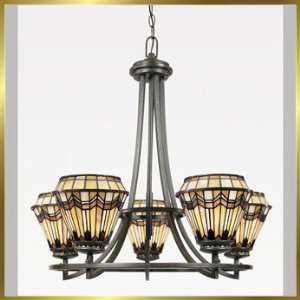 Tiffany Chandelier, QZTFAD5005VA, 5 lights, Antique Bronze, 27 wide X