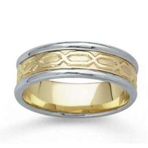 14k Two Tone Gold Classical Hand Carved Wedding Band Jewelry