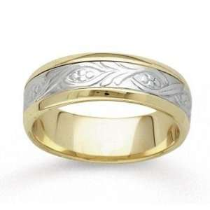 14k Two Tone Gold Classy Elegance Hand Carved Wedding Band Jewelry
