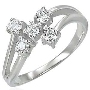 Steel Prong Set Split Bypass Ring with Clear Cubic Zirconia (Size N½