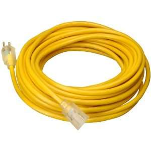 Jacketed 12/3 SJTW Outdoor Extension Cord with Lighted End   Yellow