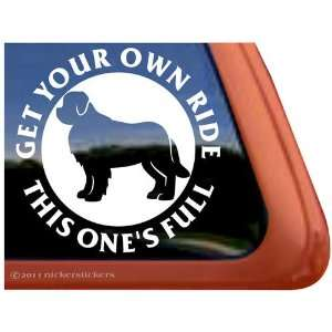 Full Ride ~ Newfoundland Dog Vinyl Window Decal Sticker