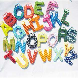 Kids Wooden Toy Teaching Alphabet Fridge Magnetic Magnet Set 26