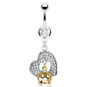 Clear CZ Gem Paved Heart Gold Crown Belly Ring New C262