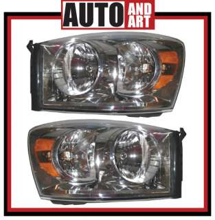 New Pair Set Headlights Headlamps Assembly SAE DOT 07 09 Dodge Ram