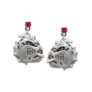Large Bulldog   Mascot Red Swarovski Post Charm Earrings
